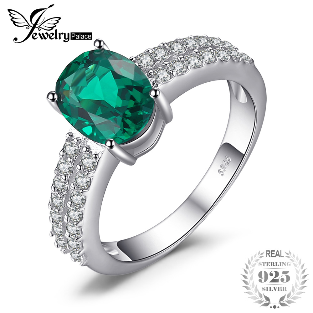 JewelryPalace Bornstone 2.2ct Nano Russian Simulated Emerald Engagement Anniversary Ring For Woman Real 925 Sterling Silver