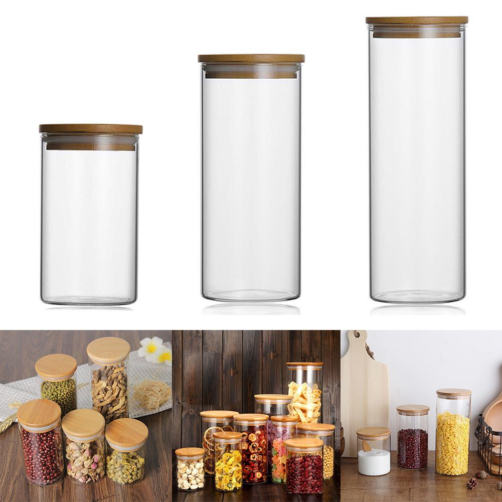 US $3.57 38% OFF|Food Storage Glass Jar No Lead Kitchen Storage Bottles  Sealed Cans with Cover Large Capacity Candy Glass Jars Tea Box 40-in ...
