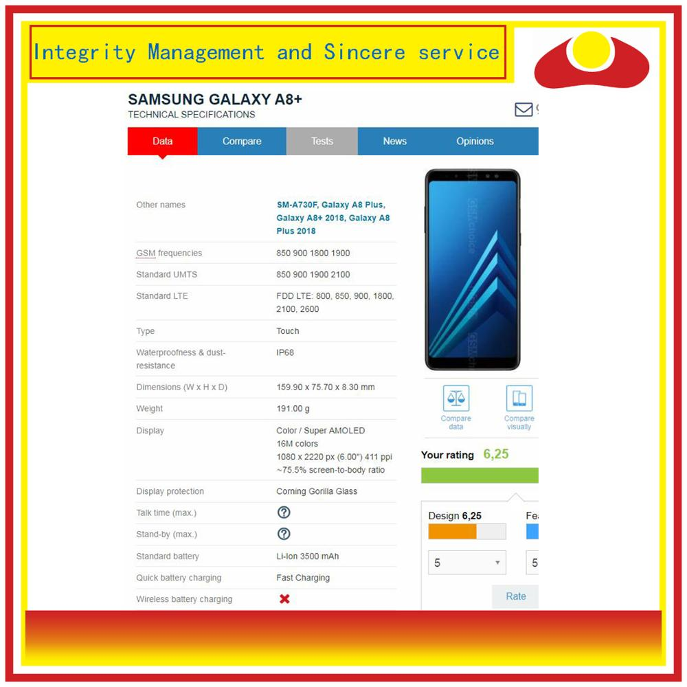 Image 2 - 10Pcs/lot DHL For Samsung Galaxy A8 Plus 2018 A730 A8+ LCD Display With Touch Screen Digitizer Panel Monitor Assembly Complete-in Mobile Phone LCD Screens from Cellphones & Telecommunications