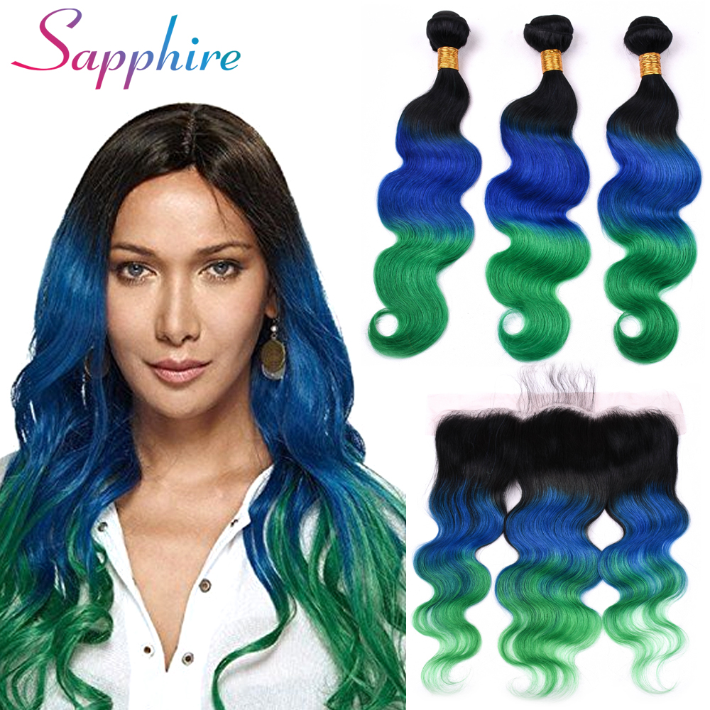 Sapphire Hair Brazilian Body Wave Bundles With Frontal Closure 100% Human Hair 3 Bundles ...