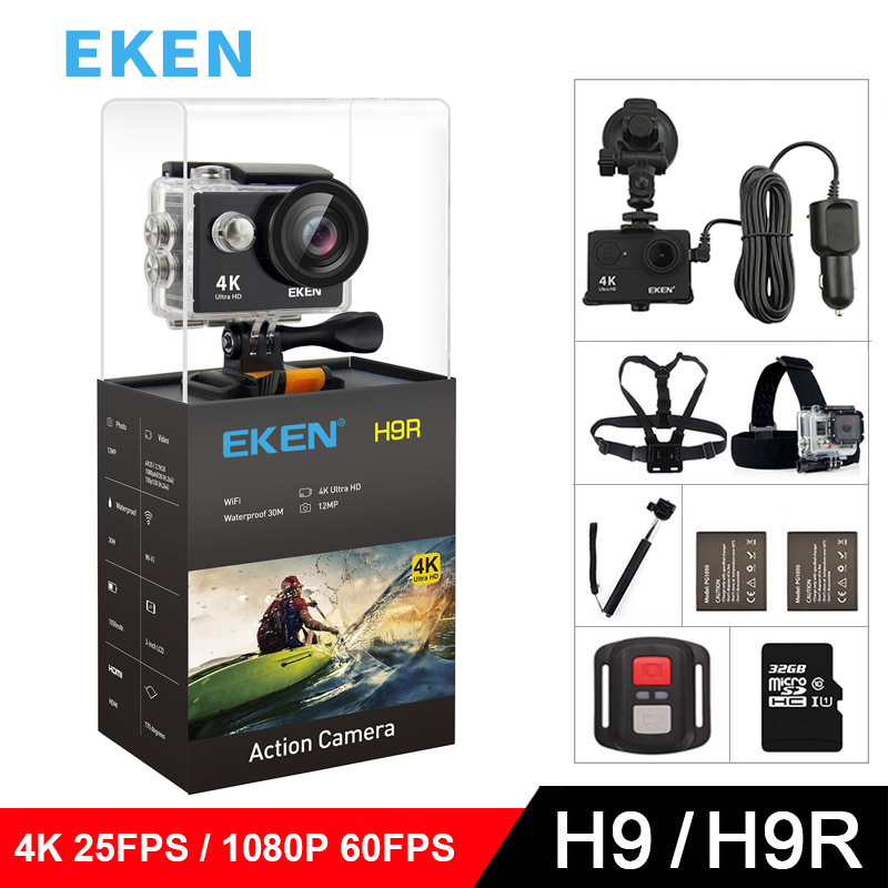 Original EKEN Action Camera eken H9R / H9 Ultra HD 4K WiFi Remote Control Sports Video Camcorder DVR DV go Waterproof pro Camera battery dual charger bag action camera eken h9 h9r 4k ultra hd sports cam 1080p 60fps 4 k 170d pro waterproof go remote camera