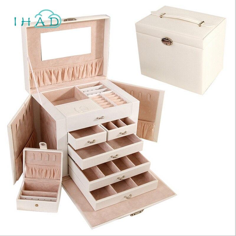 Роскошный кожаный PU пять слоев контейнер для ювелирных изделий Организатор шкатулка большой ящик для хранения коробочка для украшений, оже