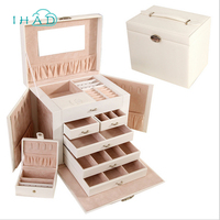 Luxurious PU Leather Five layers Jewelry container Organizer Jewelry Box big storage Box Jewelry Boxes Necklace casket