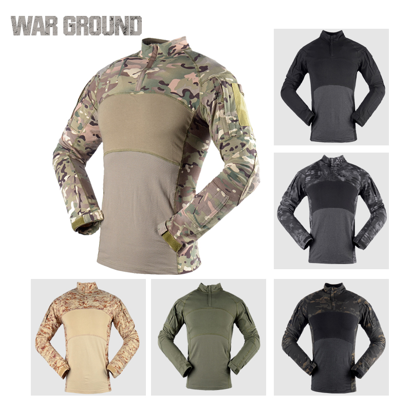Camouflage tactical shirt men 39 s long sleeved t shirt military uniforms breathable uniform outdoor sports hunting T shirt in Hunting Base Layers from Sports amp Entertainment