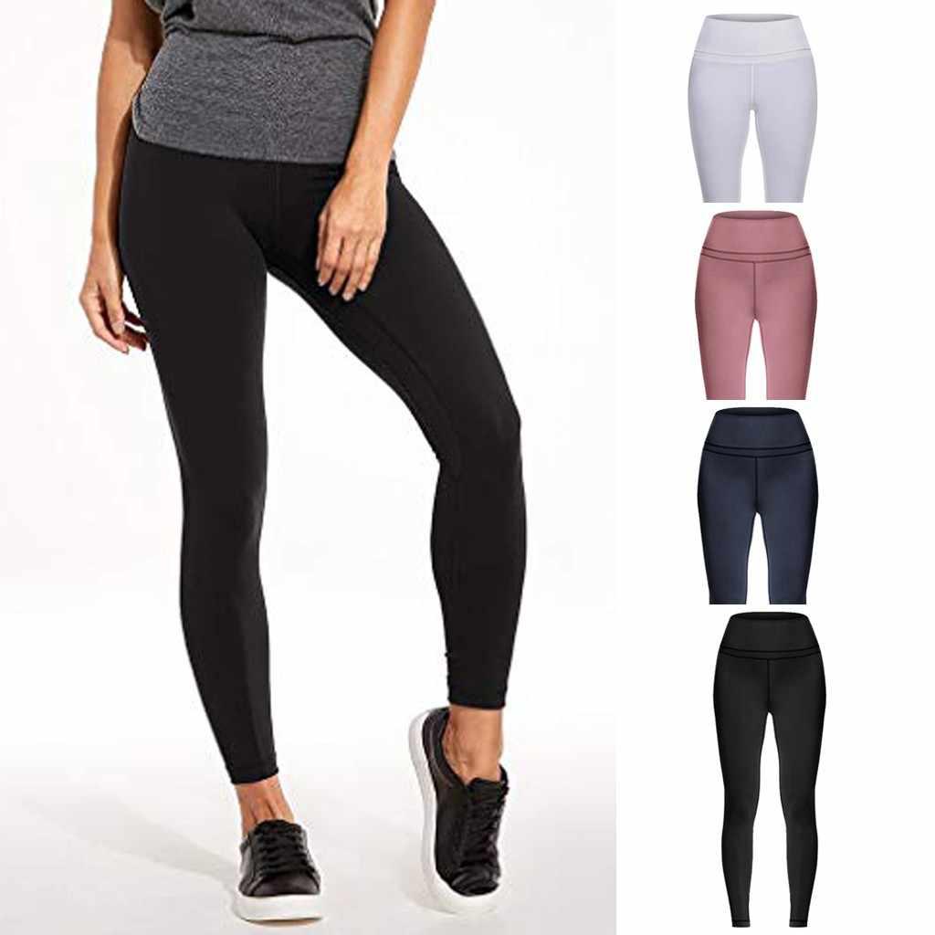 Spodnie sportowe kobiet wysokiej talii i mocno spodnie sportowe do jogi elastyczny pas sportowe legginsy nago, ukryta kieszeń spodnie do jogi