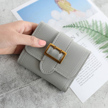 womens wallets and purses simple buckle 3 fold fashion sewing thread small wallet 2019 new student short