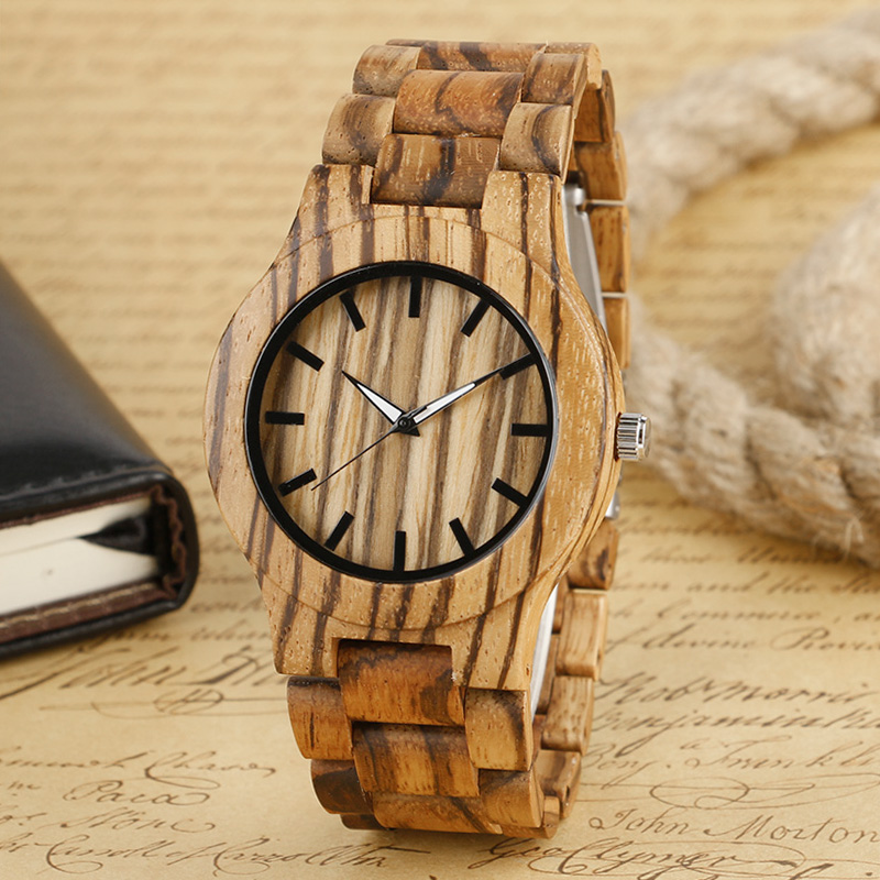 Reloj de madera Men's Luxury Full Wood Wrist Watch Natural Wooden Bamboo Handmade Men's Watches Male Gift W242701 fashion top gift item wood watches men s analog simple bmaboo hand made wrist watch male sports quartz watch reloj de madera