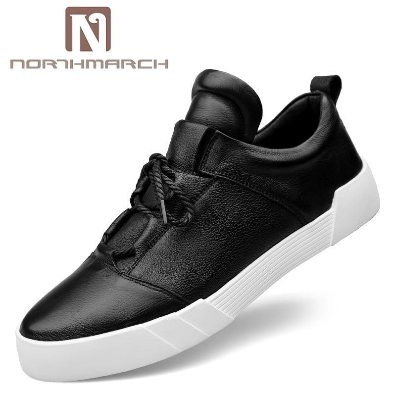 Cuero Zapatos Casual Lace De Calzado Otoño Negro Hombre blanco Hombres Northmarch up Genuino Venta Primavera Caliente qSx8qwfT