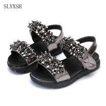 SLYXSH  Girl sandals princess shoes 2017 summer new large middle pee diamond beaded little girl sandals children's sandals