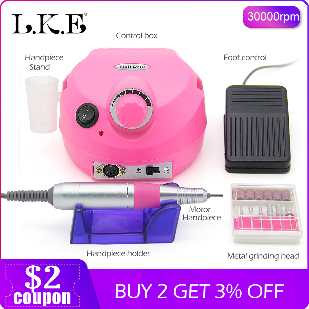 LKE 30000RPM Professional Machine Apparatus for Manicure Pedicure Kit Electric File with Cutter Nail Drill Art Polisher Tool BitLKE 30000RPM Professional Machine Apparatus for Manicure Pedicure Kit Electric File with Cutter Nail Drill Art Polisher Tool Bit