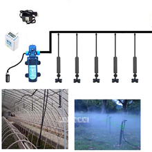 New Timed water pump set 12V 45W Water Pump 4L/min Greenhouse Automatic Irrigation System Cross Atomization Nozzle Watering Kits