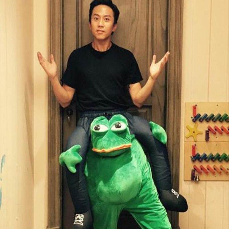 Nouveauté grenouille verte monter sur moi Costumes porter de retour jouets d'équitation pour adulte Halloween fête de noël Cosplay vêtements taille unique