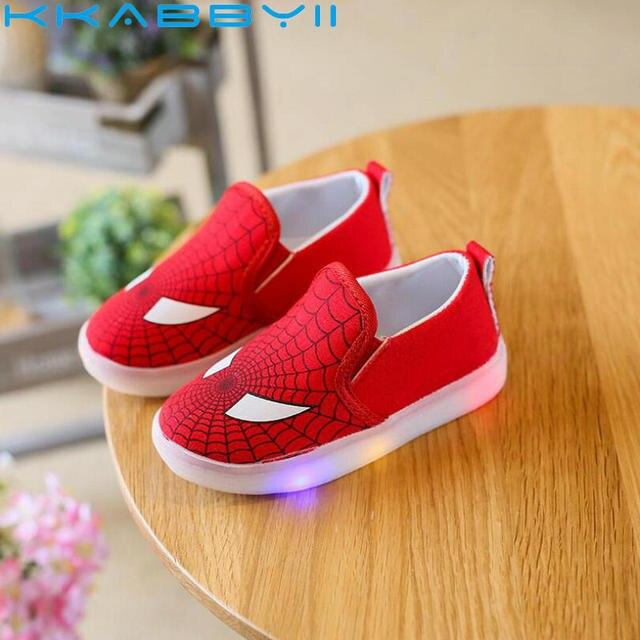 b695d6482e 2018 Crianças Tênis de Lona Bebê Sapatos Do Homem Aranha Com Luz LED  Tamanho Das Sapatilhas