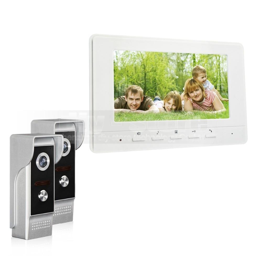 DIYSECUR 7inch Video Intercom Video Door Phone 700TV Line IR Night Vision Outdoor Camera For Home / Office Security System 2V1