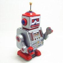 Классическая коллекция Ретро Заводной Металл ходьба оловянный ремонтник робот напоминание механическая игрушка Дети Рождество подарок на день рождения