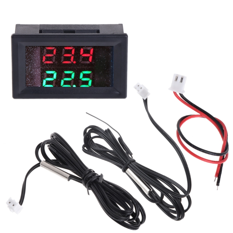 Intelligent digital temperature measuring instrument DC 4-28V precision double display thermometer NTC waterproof metal probe