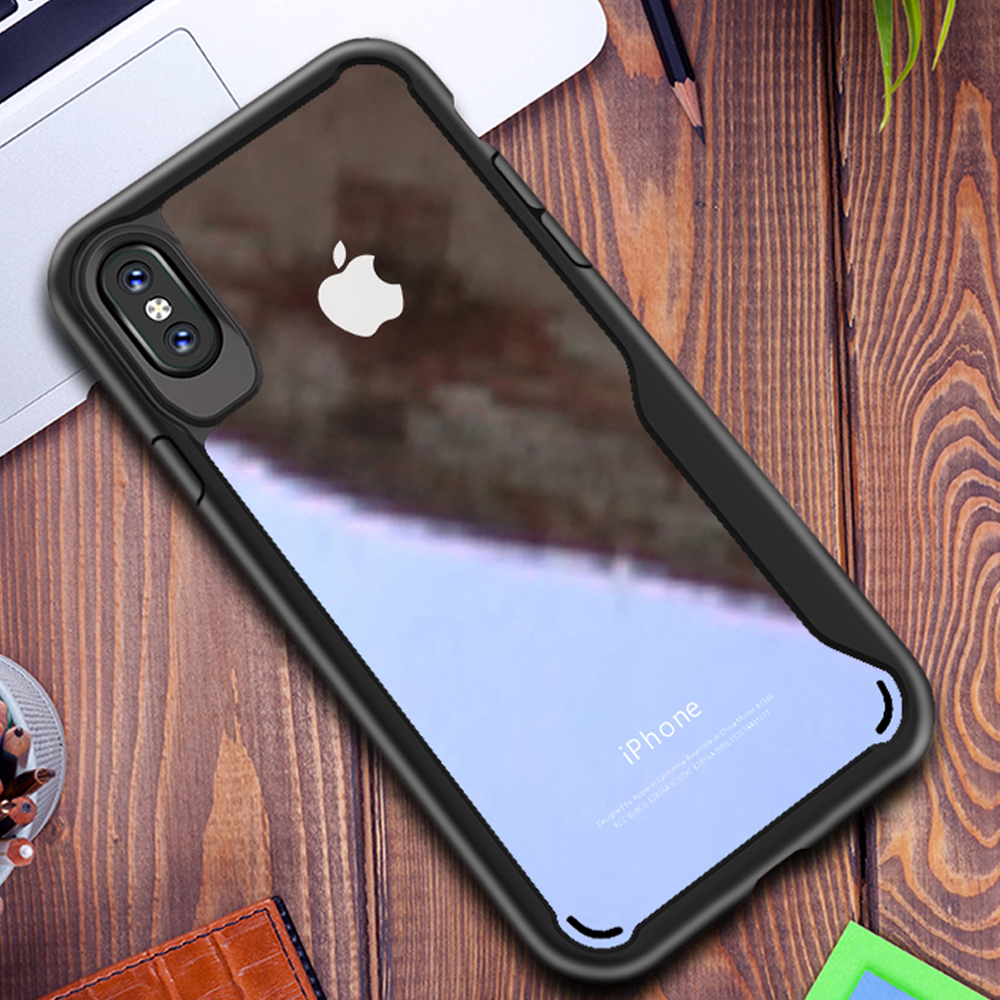 AXBETY For iPhone X Case SlimTransparent Back Hybrid Hard Plastic Case sFor iPhoneX For iPhone 10 ten Shockproof Silicon Frame
