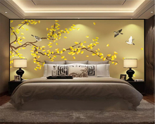 beibehang Customized modern golden ginkgo hand-painted pen and flower new Chinese style wall decoration painting 3d wallpaper