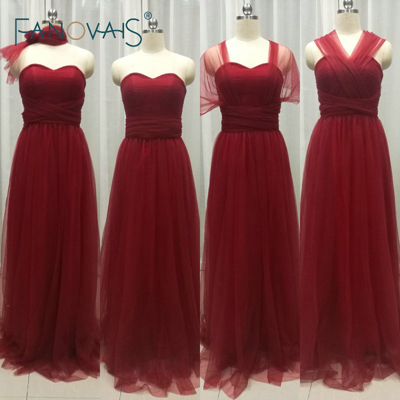 Tulle Burgundy Convertible   Bridesmaid     Dresses   2019 Cheap Maid Of Honor   Dress   Birdesmaid   Dress   for Wedding Party Vestido de fests