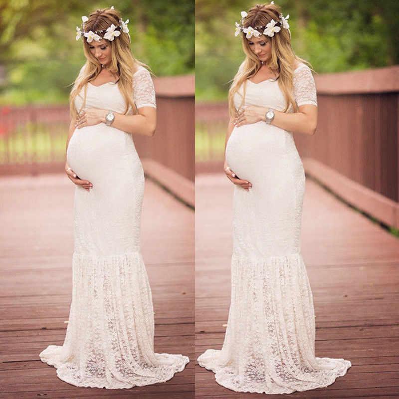 Vestido de maternidad accesorios de fotografía ropa de embarazo de encaje vestidos de maternidad para sesión fotográfica con embarazada paño de talla grande