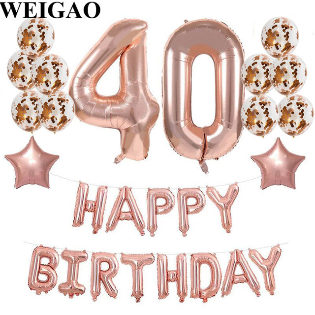 WEIGAO Adult 40th Birthday Rose Gold Number Foil Balloons Anniversary Party Happy Helium Backdrop
