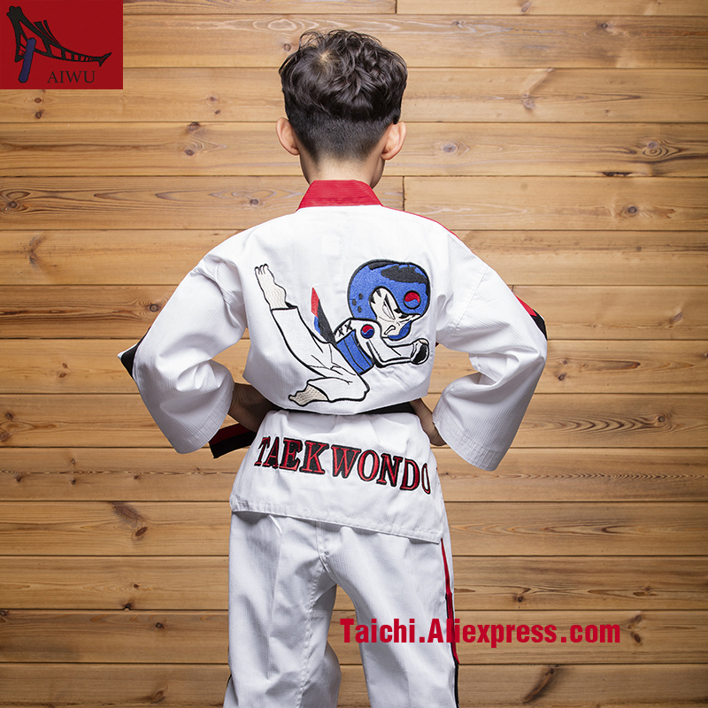 Children Taekwondo Uniform Long Sleeve Boy And Girl  Tae Kwon Do Clothes TKD Poomsae Clothing