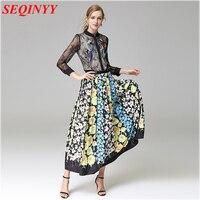 Pretty Ethnic Skirt Set Women Spring Summer 2017 Long Sleeve Black Lace Bird Sequin Feather Shirt