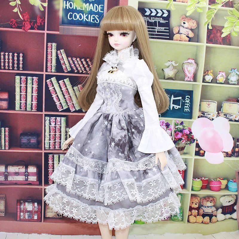 2019 новейшее платье куклы BJD красивый серый комплект Лолиты Топ Модный наряд для вечеринки 1/4 45 см шарнир тела кукла для продажи подарки на день рождения