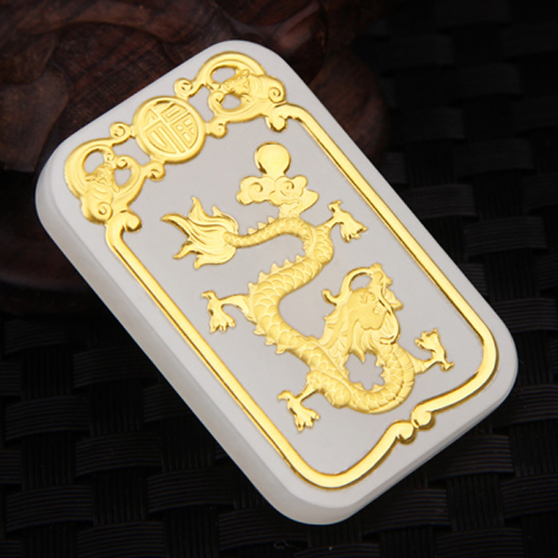 Pure 24K Yellow Gold Natural Jadeite Carved Dragon Phoenix Pendant pure 24k yellow gold 100% natural jadeite zodiac chicken pendant