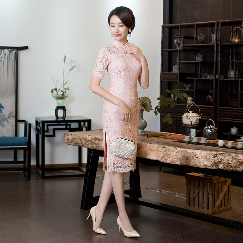 New Arrival Traditional Chinese Women Dress Novelty Floral Slim Short Cheongsam Ladies' Elegant Mandarin Collar Qipao S-XXXL