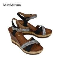 MaxMuxun Donna Piattaforma di Legno Sandali Cross-legato Zeppe Scarpe Tacco Alto Signore Sexy Peep Toe Ankle Buckle Strap Elegante pompe