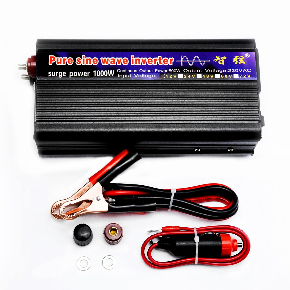 Inversor de onda sinusoidal pura pico 1000 W DC 12 V/24 V a AC220V 50Hz inversor fuera de red para garantía del sistema Solar 2 años