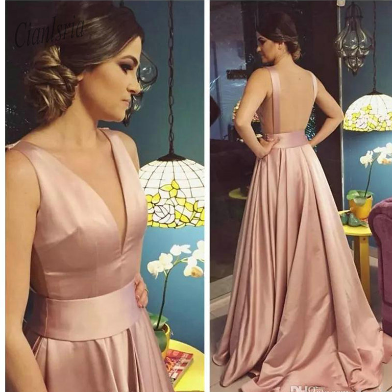 2019 Sexy Deep V-Neck A-Line   Prom     Dresses   Rose Gold Backless Court Train Long Special Occasion Party Gowns Simple Evening   Dress