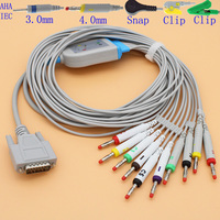 DB15 pins ECG EKG 10 leads cable and electrode leadwire for Edan SE 1/SE 3/SE 12/SE 601/SE 601A and Mindray R3 R12 monitor.
