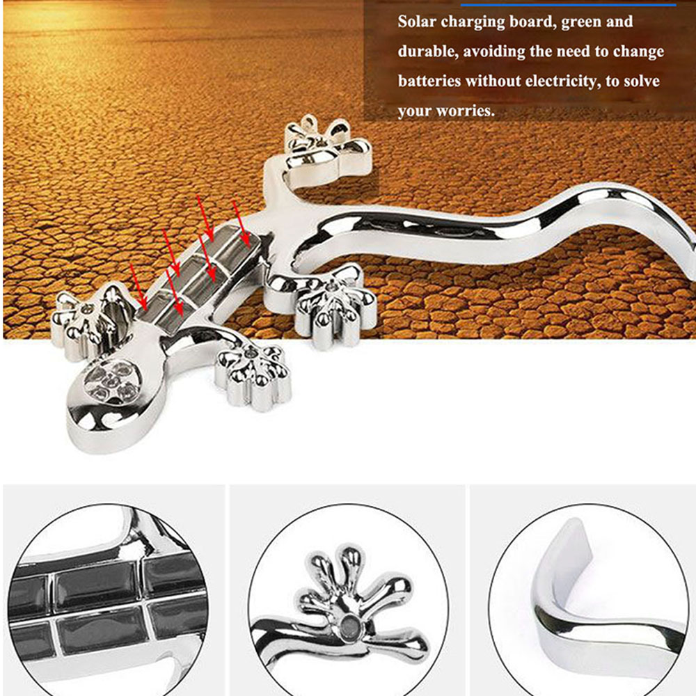New Solar Gecko Zinc Alloy Chrome 3D Metal Car Emblem Badge Stickers Decal Motorcycle Automobiles Decoration On Car Styling