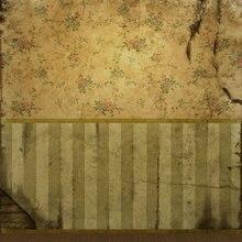 10x10ft Винтаж в полоску сломанной стены Атлас Цветы Узор Пользовательские фотографии, фоны Studio Фоны винил 3x3 м