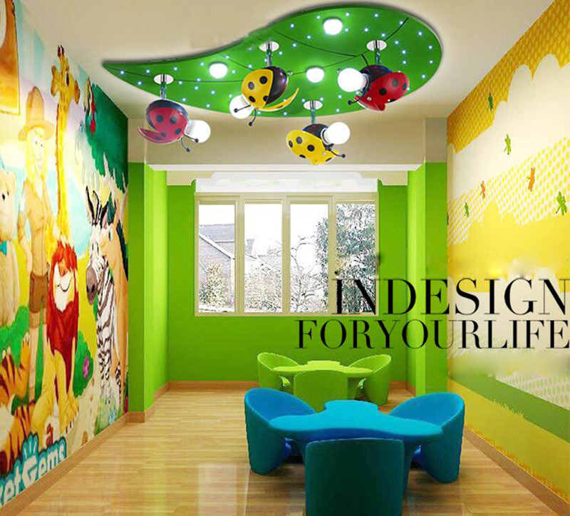 US $161.68 |Children bedroom lamp ladybird ceiling light children room male  girl cartoon children room lights LED shield an eye the ladybug-in Ceiling  ...