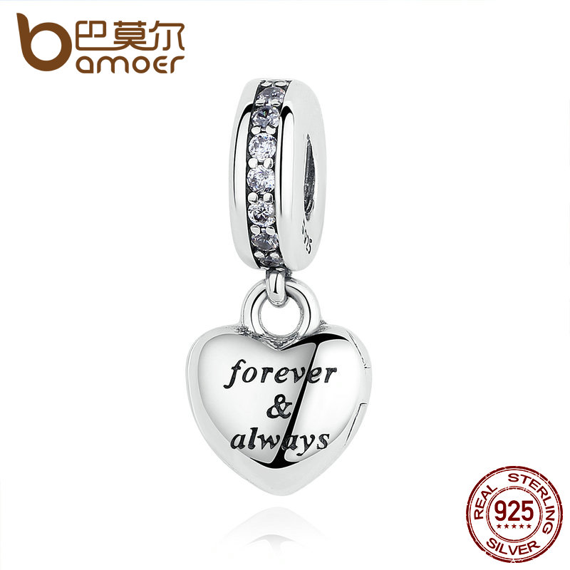 BAMOER Birthday Gift 925 Sterling Silver My Beautiful Wife Forever & AlwayBeads Charms fit Bracelets Women Silver Jewelry PAS321 все цены