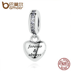 BAMOER Birthday Gift 925 Sterling Silver My Beautiful Wife Forever & AlwayBeads Charms fit Bracelets Women Silver Jewelry PAS321