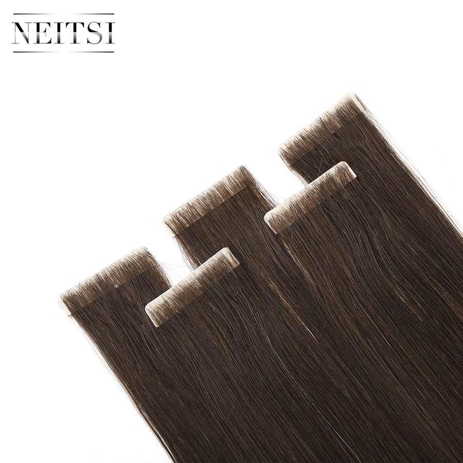 Neitsi Straight PU Skin Weft Hand Tied Tape In Adhesives Remy Human Hair Extensions 16 20