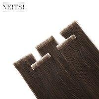 Neitsi прямые волосы из искусственной кожи, завязанные вручную клейкие ленты в клеях Remy человеческие волосы для наращивания 16 20 24 FedEx Быстрая