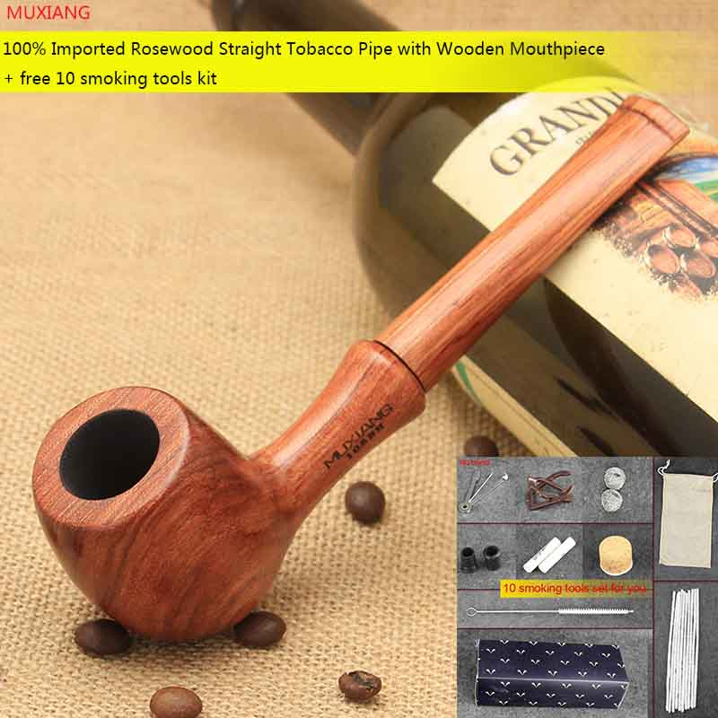 MUXIANG Free 10Tools kevazingo wood Tobacco Pipe Billiard Handmade 9mm Filter Smoking Pipe with Pipe Accessories Men Gift ad0001