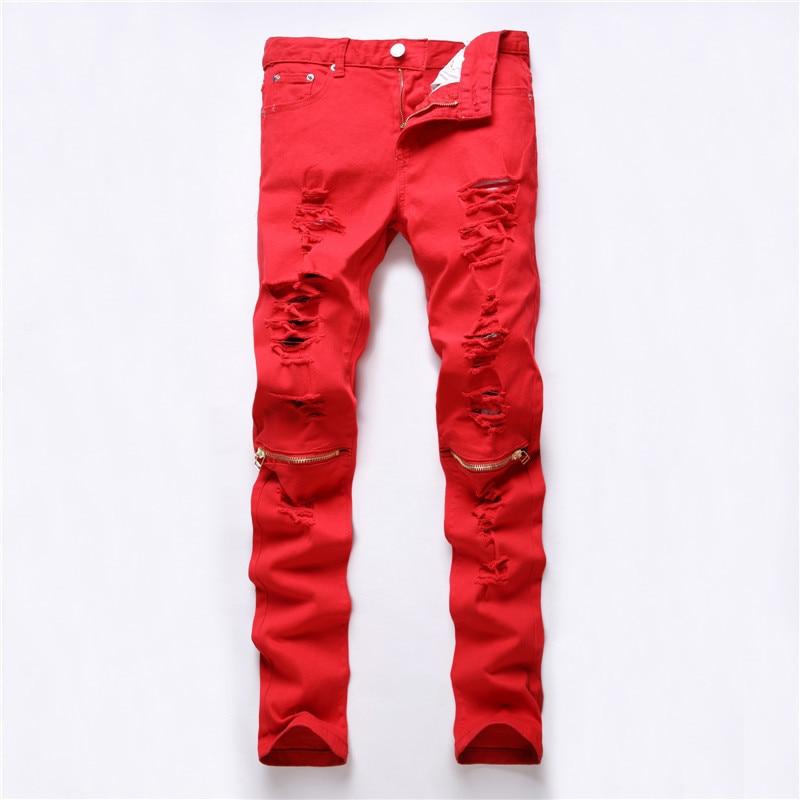 44e5c558575c New Dropshipping Red White Black Ripped Denim Knee Hole Zipper Biker Jeans  Men Slim Skinny Torn