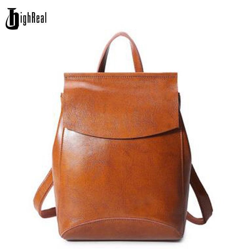 HIGHREAL Hot Sale 100 Genuine Leather Backpack Cow Mochila Brand 2017 New Women Shoulder Bag School