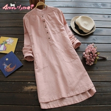 Amourlymei 2017 spring autumn new women loose casual solid tand Collar long-sleeved cotton linen dress female