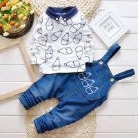 Korean Fashion Cute Children Suits Boys And Girls Children S Clothing Cotton Denim Strap Bottle Suit