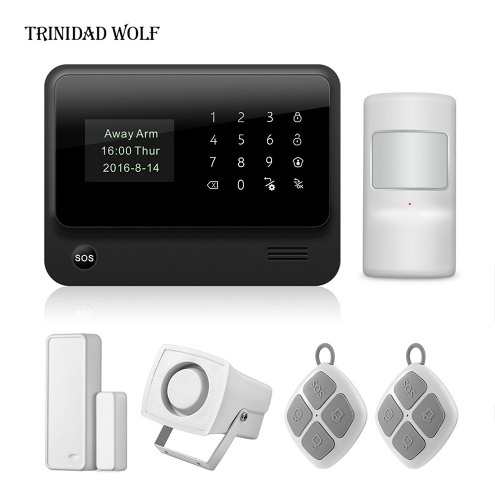 TRINIDAD WOLF G90B WIFI GSM 2G GPRS Alarm System Touch Keyboard Wireless Smart House Security System APP Remote Control golden security wifi gsm 2g 3g gprs alarm system wireless smart house security app remote control support cid protocol