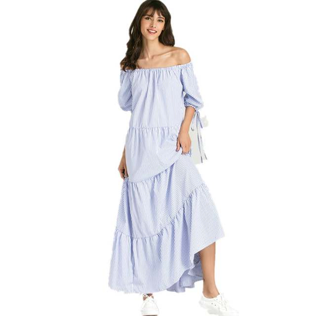 7fff1ca1c426 placeholder Blue And White Striped Maxi Dress 2017 Summer Short Sleeve  Casual Long Dress Off Shoulder Cotton