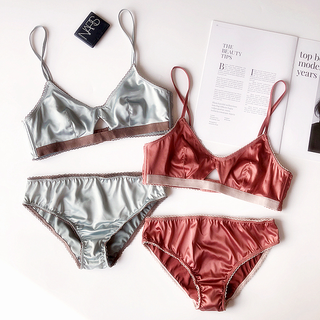 Soft cup triangle bra set wire free silk hollow out women sexy underwear sets satin thin bralette and panties ladies lingerie