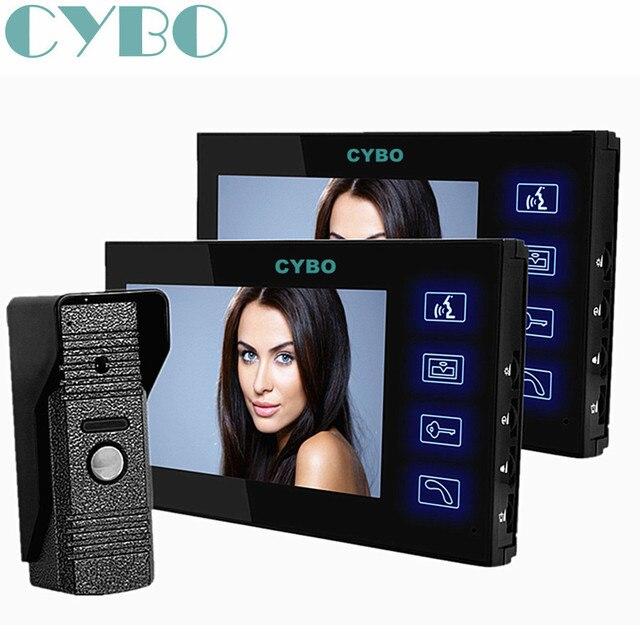 """7"""" wired video door phone doorphone 2 monitor intercom system doorbell touch key+Waterproof Door bell Camera"""